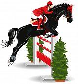 Springreiten. Jockey auf ein schönes schwarzes Pferd springt über ein Hindernis.