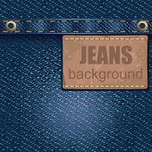 Jeans background with leather label. Detailed vector illustration.