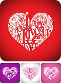 Love greeting card for valentine day or wedding card design -  typeface composition on red, white, p
