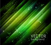 vector abstract green lights background - night starry sky and green aurora borealis