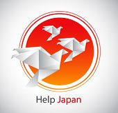 japan flag and origami birds - conceptual illustration