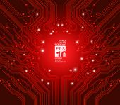 circuit board vector red background
