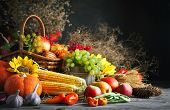 Happy Thanksgiving Day Background, Wooden Table Decorated With Pumpkins, Maize, Fruits And Autumn Le poster