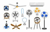 Collection Of Electric Fans Of Various Types Isolated On White Background. Bundle Of Household Devic poster