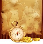 vector old map with a compass and pirate coins on a wooden background