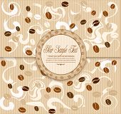 vector background with coffee , stripes and Label