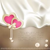 vector holiday background with beige silk, with two pink hearts and pearls
