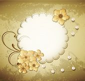 vector grunge, vintage background with a greeting card, pearls, flowers