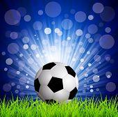 Vector futbol football en hierba, sobre un fondo azul con rayas