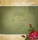 Grunge vintage invitation with a rose and postmarked