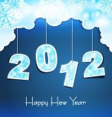 stock photo of new years celebration  - New Year holiday background with the numbers 2012 on the blue sky - JPG