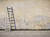 picture of wall painting  - Blank dirty grunge wall with ladder - JPG