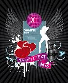 valentine background on a musical theme with girl and mirrorball