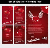 Set of cards for Valentine day