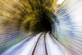 Abstract Blurred Background, Conveying Fast Train Speed Along Old Tunnel Railway From Light To Darkn poster