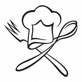 pic of chefs hat  - chef hat with spoon and fork - JPG
