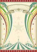 rainbow circus vintage poster. A retro circus background for a poster with two rainbows.