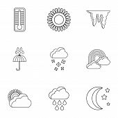 Weather Outside Icons Set. Outline Illustration Of 9 Weather Outside Icons For Web poster