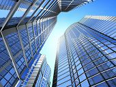 image of building exterior  - Office building on a background of the blue sky - JPG