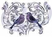 Mão-extraídas aves empoleiradas nos ramos jardim