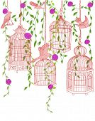 Hand-drawn illustration of a rose garden filled with free birds and ornate cages