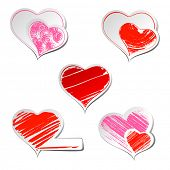 Set of five hearts sticker