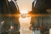 Double Exposure Business People Handshake Meeting poster