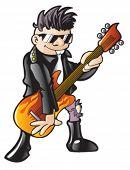 Garoto balançando em uma guitarra elétrica.