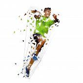 Handball Player Shooting Ball, Abstract Polygonal Vector Illustration. Isolated Low Poly Drawing poster