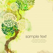 Painted watercolor card design with tree and tex