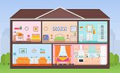 House Interior. Vector. House In Cut. Cross Section With Rooms Bedroom, Living Room, Kitchen, Dining poster