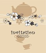 image of tea party  - card with teapot and cups - JPG