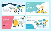 Set Of Web Page Design Templates For Teamwork, Project Management, Business Workflow, Customer Relat poster