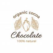 Vector Cocoa Logo, Organic Label Chocolate Bean, Fruit. Vegan Sweet Food, Aroma Drink. Tropical Food poster