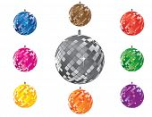 Set of shining disco balls (easy editable)