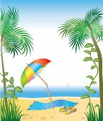 Idyllic tropical beach vector illustration