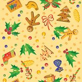 Seamless pattern with symbols of Christmas