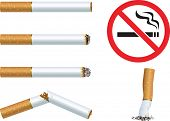 "Set of cigarettes and the sign ""No smoking"""