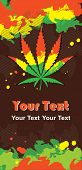 pic of ganja  - grunge composition with cannabis leaf and rastafarian colors - JPG