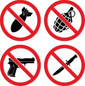 pic of grenades  - Forbidding  Vector Signs  - JPG