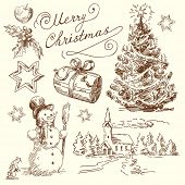 stock photo of christmas star  - hand drawn christmas set - JPG