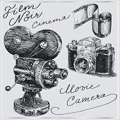 cámaras dibujadas a mano