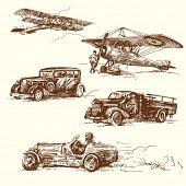 Постер, плакат: старые времена автомобиль оригинальные Самоделки рисунок