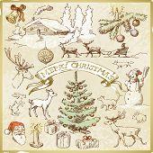 tarjeta de Navidad retro - colección dibujados a mano
