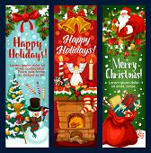 Christmas And New Year Holiday Banner With Xmas Characters. Santa Claus, Snowman And Gift Greeting C poster