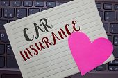 Conceptual Hand Writing Showing Car Insurance. Business Photo Showcasing Accidents Coverage Comprehe poster