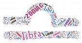 Textcloud: silhouette of libra
