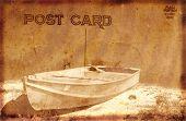 Vintage Postcard With Boat