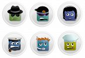 Square faces icon set of spy, teenager, dispatcher, captain, diver and cook on white background.