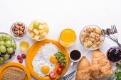 Woman Cooking Breakfast. Healthy Breakfast Ingredients, Food Frame. Granola, Egg, Nuts, Fruits, Berr poster